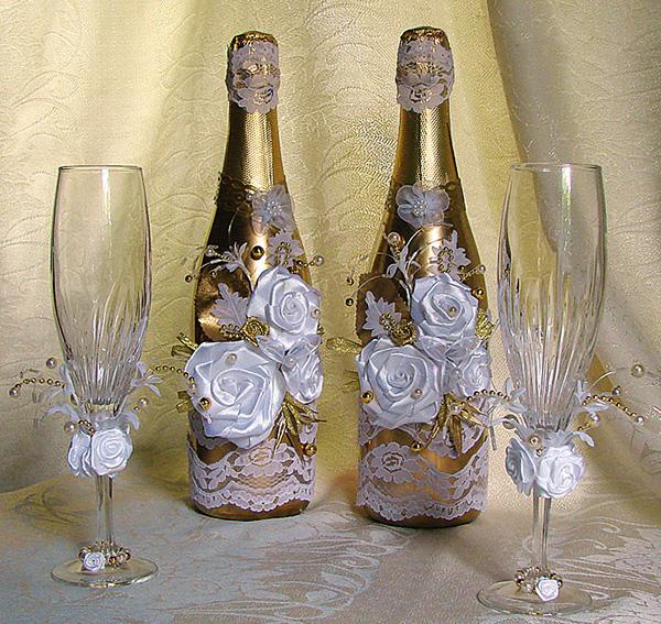 Свадебная бутылка своими руками фото