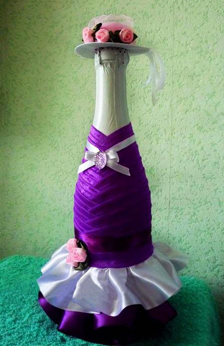 как украсить бутылку вина своими руками на день рождения