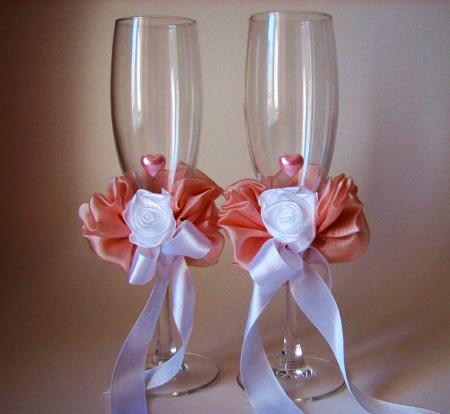 Свадебные бокалы из атласных лент своими руками видео