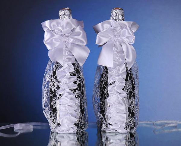 как украсить свадебные бутылки своими.