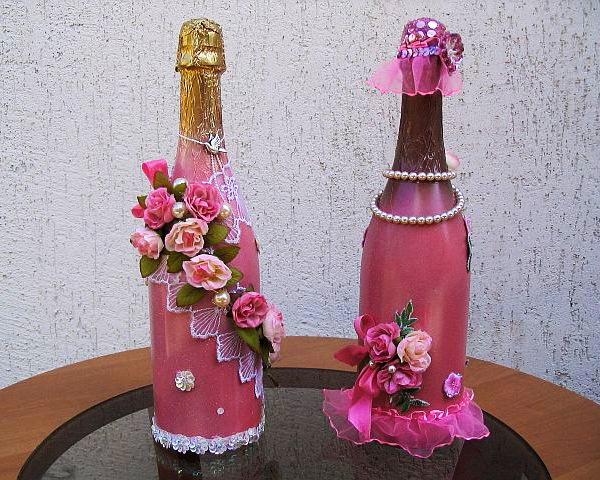 Украшаем бутылки своими руками на свадьбу фото