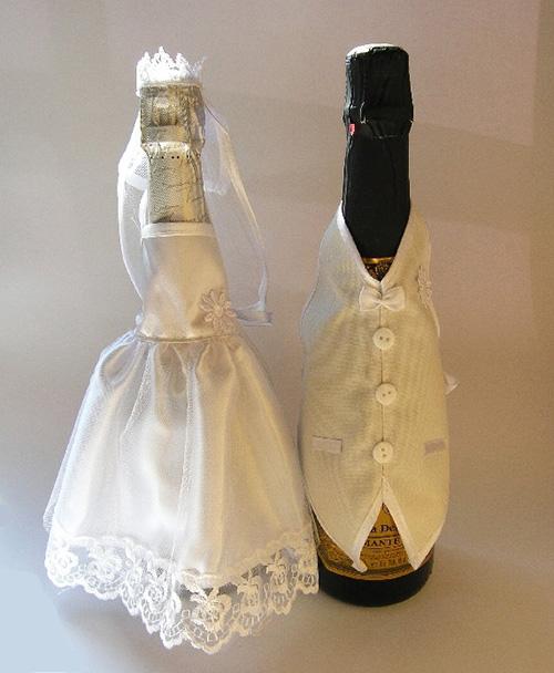 Как украсить бутылку шампанского для свадьбы