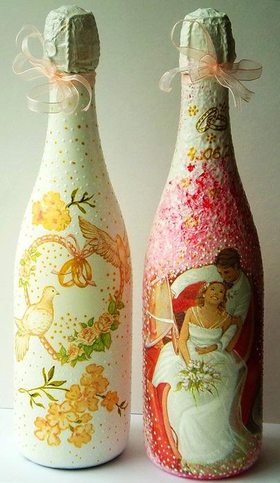 Декупаж свадебных бутылок своими руками