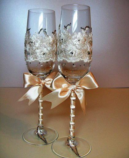 Бокалы для шампанского на свадьбу своими руками 694