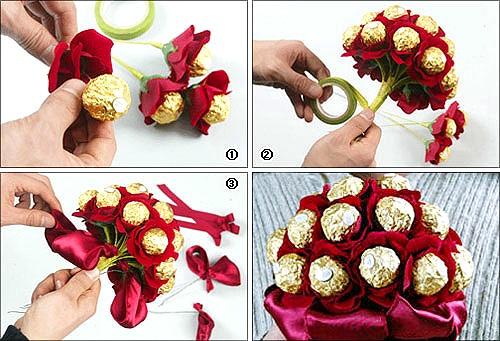 Букет из конфет.  Подарки к 8 марта своими руками1.