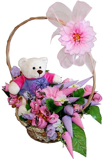 Необычный букет на 1 годик, цветов покупает