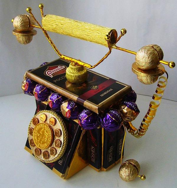 Конфетный телефон свадебные
