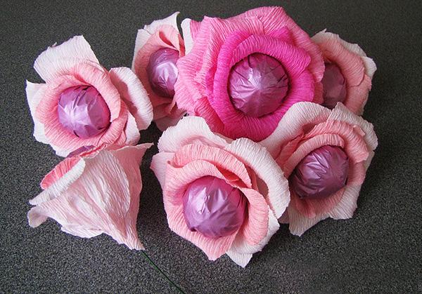 Конфетные цветы мастер класс