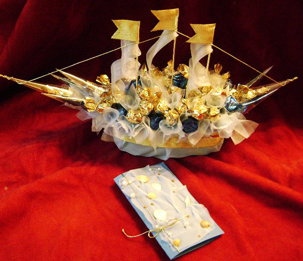 Букеты из конфет своими руками корабль 46