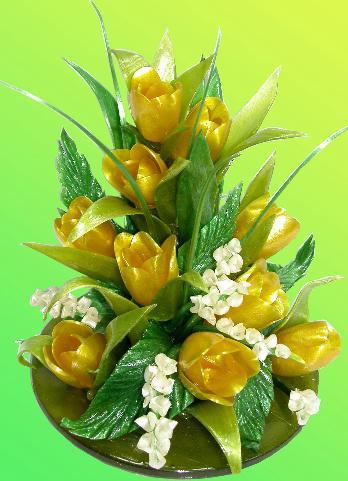 Украшения из крема, рисовальных масс, желе...  Цветы из карамели украсят любой букет из...