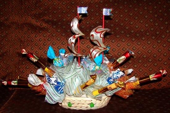 Корзина с конфетами на новый год своими