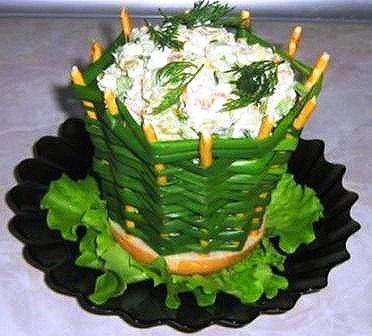 булочка. зелёный лук.  Рецепт оформления салата Луковая корзинка.