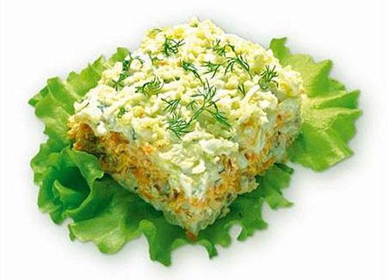 """Рецепт: Салат Мимоза с лососем  """" - Рецепты на : www.pokushal.ru."""