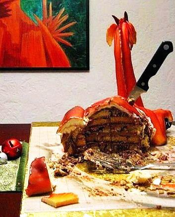 """Пряничный торт  """"ДРАКОН """". и. кондитерской мастики. пряничного теста."""