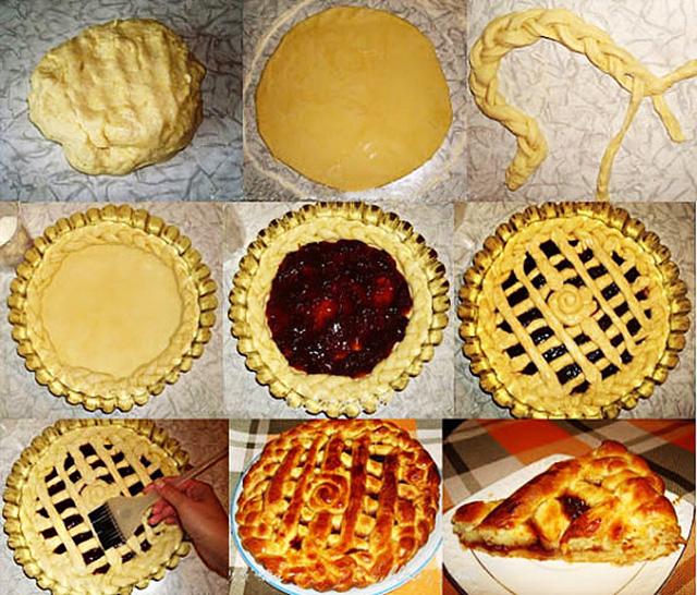 Украшение пирога в из теста