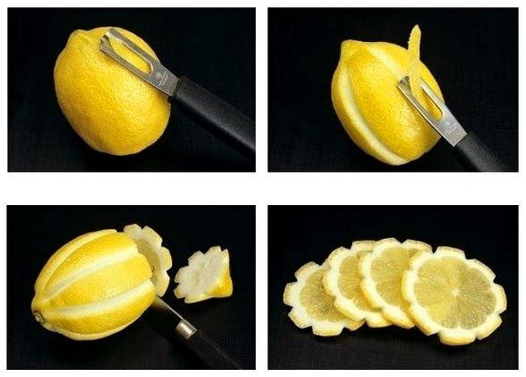 Как сделать розочку из лимона фото пошагово