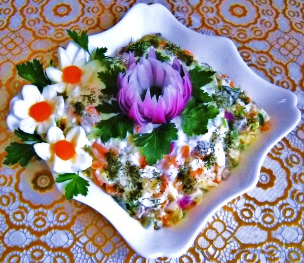 салат с сердцем говяжьим и луком рецепт