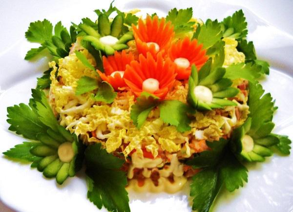 рецепт салатов из отварного мяса