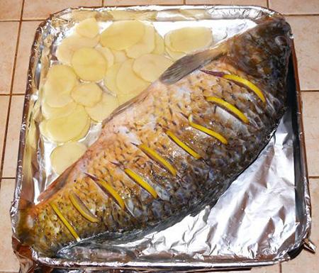 рецепт карпа со сметаной в духовке в фольге рецепт