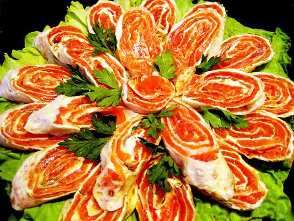 323Рецепт рулета из лаваша с красной рыбой и плавленным сыром