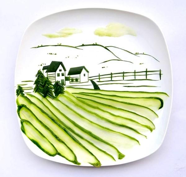 Яблоко на тарелке рисунок