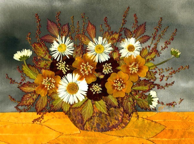 Картина из сухих цветов своими руками фото
