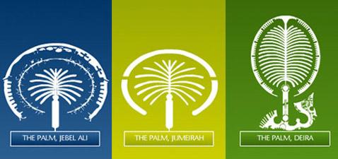"""Три """"Пальмы"""" рядом, для сравнения размеров. Сейчас достраивают ту, что посередине (иллюстрация с сайта nakheel.ae)."""