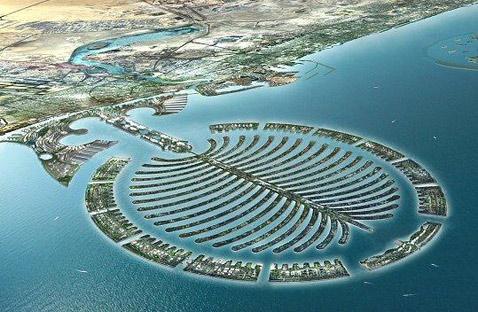"""Самый большой и сложный искусственный остров """"Пальма Дейра"""" будет готов через пять лет, а то и позже (иллюстрация с сайта koreus.com)."""